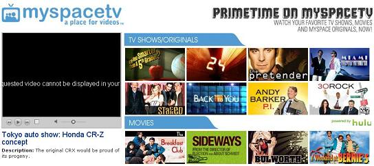 Myspace Hulu primetime